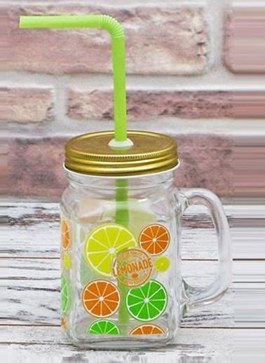 Limon Baskılı Kupa Kavanoz-Joy Glass